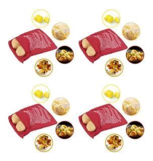 Kit 4 Saco Para Assar Cozinhar Batata Microondas 4 Batatas