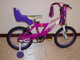 Bicicleta Rodado 16 Flex, Estabilizadores Y Sillita Muñecas