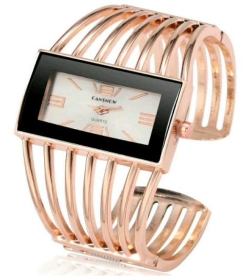 Relógio Dourado Feminino Bracelete Promoção Analógico Barato