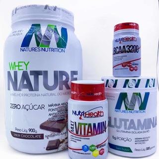 Combo Suplementos Bcaa + Glutamina + Multivitaminico + Whey