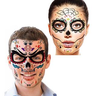 6 Tatuajes Rostro Catrina Catrin Disfraz Halloween D Muertos