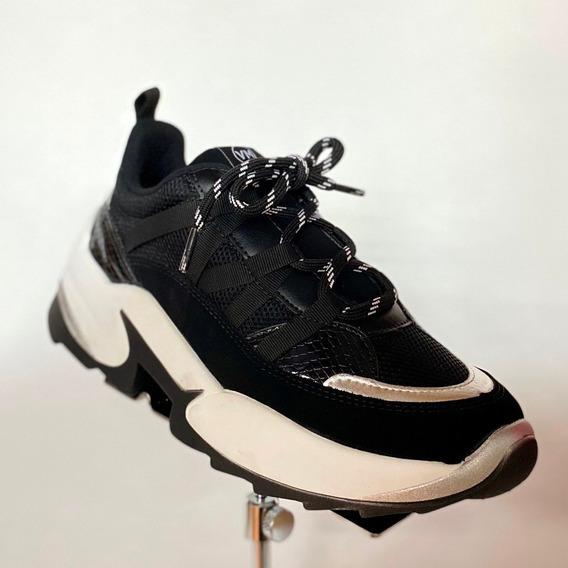 Tênis Feminino Via Marte Preto Prata Chunky Sneaker - At
