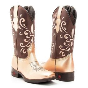 Bota Texana Country Feminino Couro Metalizado Roze 17443