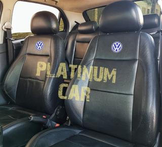Capa Banco Carro 100% Eco Couro Volkswagen + Capa De Volante