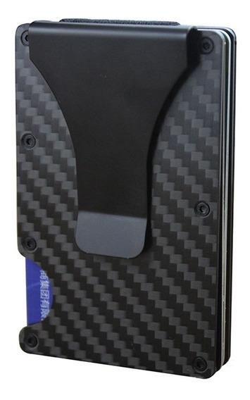 Carteira De Fibra De Carbono Rfid Porta Cartão Alumínio