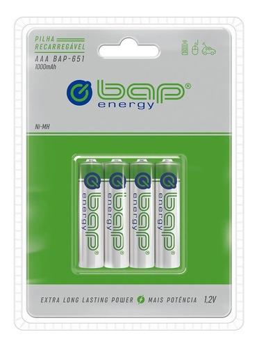 Imagem 1 de 4 de Pilha Aaa Recarregável Palito 1000mah Bap Energy 4 Unidades