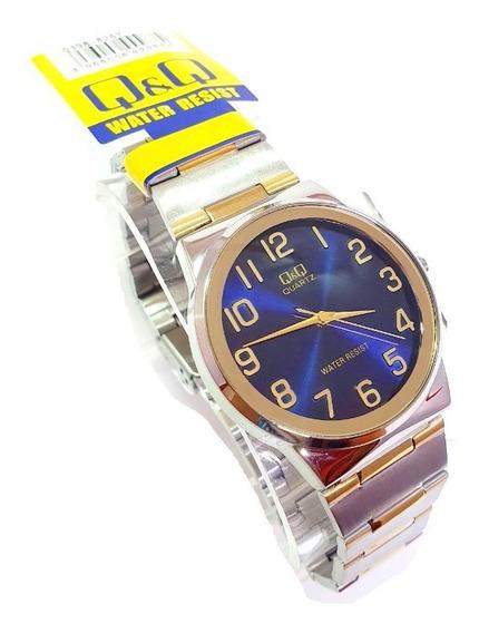 Reloj Q&q By Citizen Caballero Plata Dorado Hombre Original