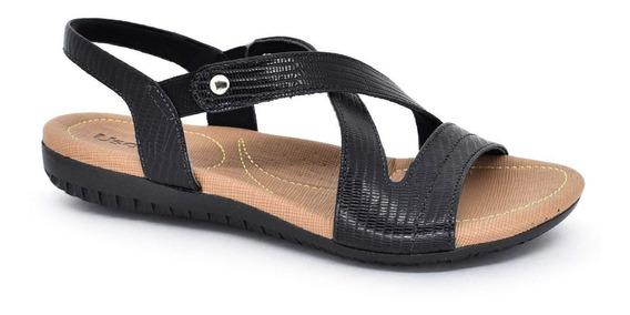 Sandália Rasteira Usaflex Conforto Com Elástico Preto R1804