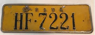 Placa Antiga Amarela Minas Gerais Belo Horizonte Pu-6275