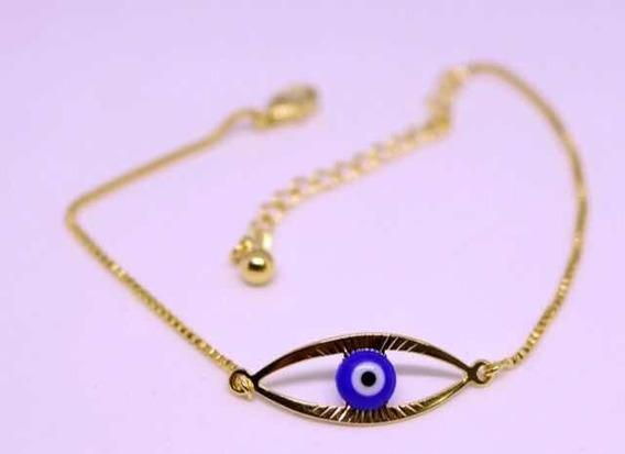 Pulseira 18cm Com Alongador Olho Grego Banhado Ouro 18k