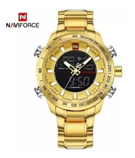Relógio Masculino Naviforce 9093 Dourado Preto Prova De Água