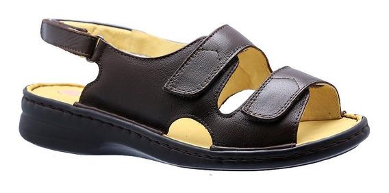 Sandália Feminina Em Couro Café 295m Doctor Shoes