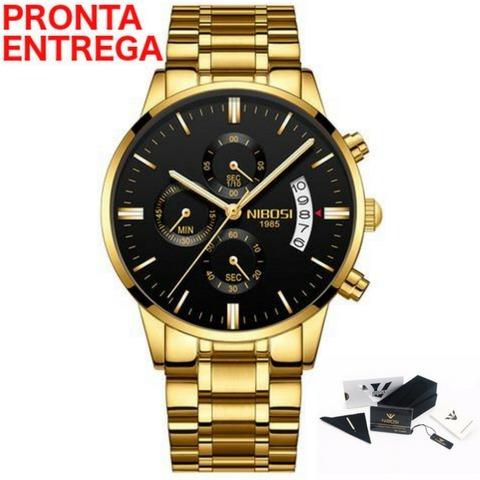 Relógio Nibosi® Original Cronom/cronógrafo Com Caixa +manual