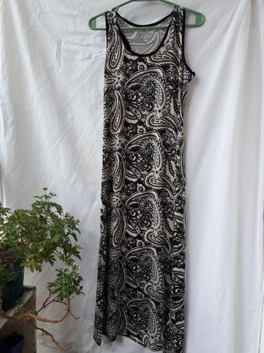 Vestido Largo Mujer Estampado S/m Poliéster Negro Beige Nuev
