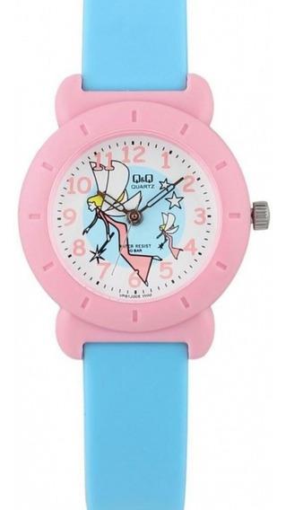 Relógio Infantil Feminino Rosa E Azul Fundo Fada Ponteiro