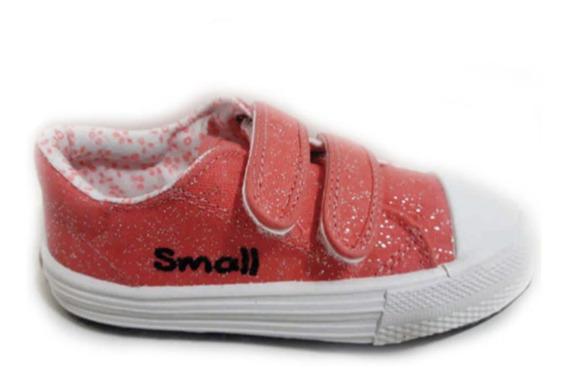 Zapatillas Small Lona Abrojos Brillos 22/35 Salmón Verano