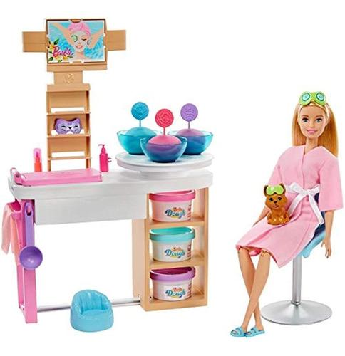 Barbie Face Mask Spa Day Playset Con Muñeca Barbie Rubia, C