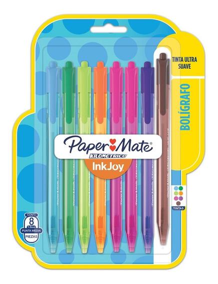 Set De Bolígrafos Kilométrico Paper Mate Esfero X8 Colores