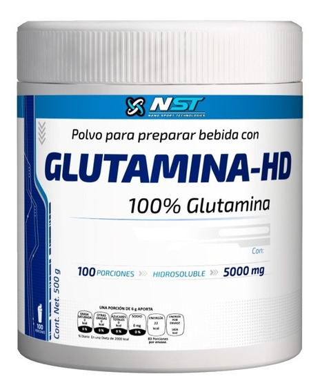 Glutamina Nst 500 G - 100 Porciones Sin Sabor