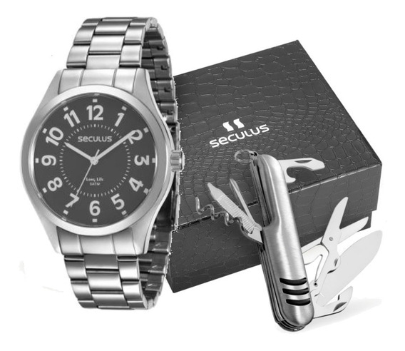 Relógio Masculino Prateado Com Todos Os Algarismos