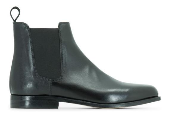 Zapato Abotinado De Hombre, Cuero Vacuno Negro