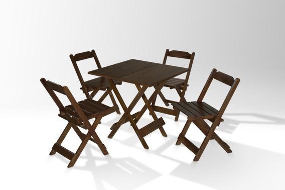 Mesa C/ 4 Cadeira Imbuia Dobravel P/bar,padaria,lanchonete(c