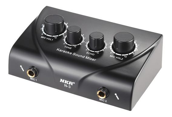 Karaoke Sound Mixer Entradas De Microfone Dual Com Cabo