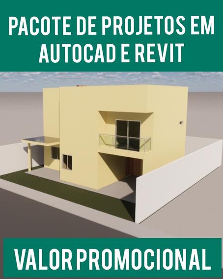 Pacote 101 Projetos Em Revit + 5 Mil Em Autocad + Brinde