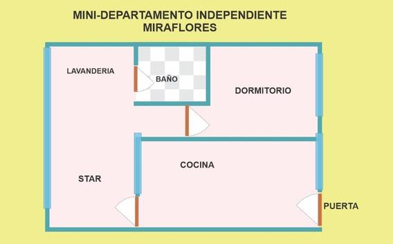 Minidepartamento E/ Miraflores 40 M2 S/1,500. C/50 Av Petit