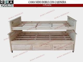 Cama Nido Doble Con Cajonera 1 Plaza Madera De Pino Roka