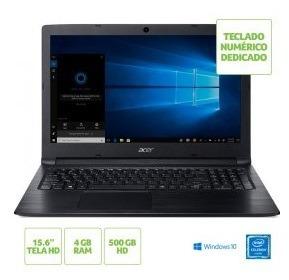Notebook Acer A315 Celeron 4gb 500gb 15,6 12x S/juros