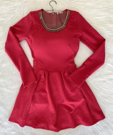 Vestido Pink Manga Longa Com Gola Bordada Tam 38