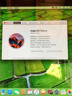 Macbook Pro Mid 2012 I5 2.5ghz 500gb 4gb Ram Intel 4000
