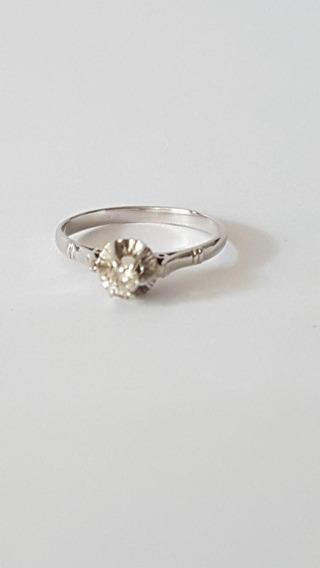 Anel Solitário Em Platina Com Diamante 10 Pontos - Aro 13,5