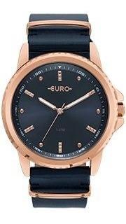 Relógio Euro Feminino Rose Azul Pulsei Couro Eu2035ynm/4a