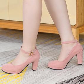 Zapatillas Mujer D Piel Tacón 9cm Plataforma Rojo Negro Rosa