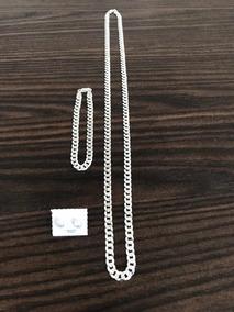 Conjunto De Prata 925 6mm 70cm Flat Italiana Legítima Luxo