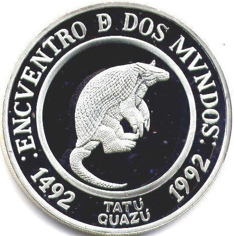 Spg Argentina 25 Pesos 1992 Plata Encuentro Dos Mundos Tatu