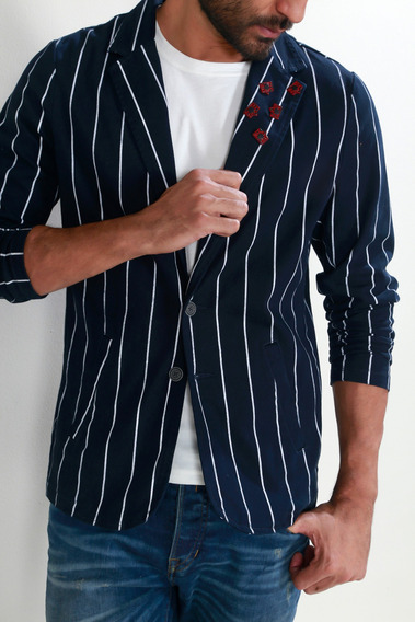 Blazer Tennis By Poker, Estampado De Rayas Tennis
