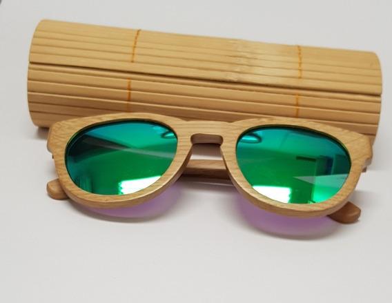 Óculos De Sol Importado Unissex De Madeira Bambu Ecológico