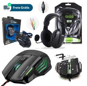 Kit Gamer Fone Ouvido Headset Headphone Pc + Mouse 7 Botões