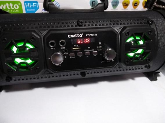 Caixa De Som Portátil Et-1758b Preto Bluetooth Mp3 Fm Sd