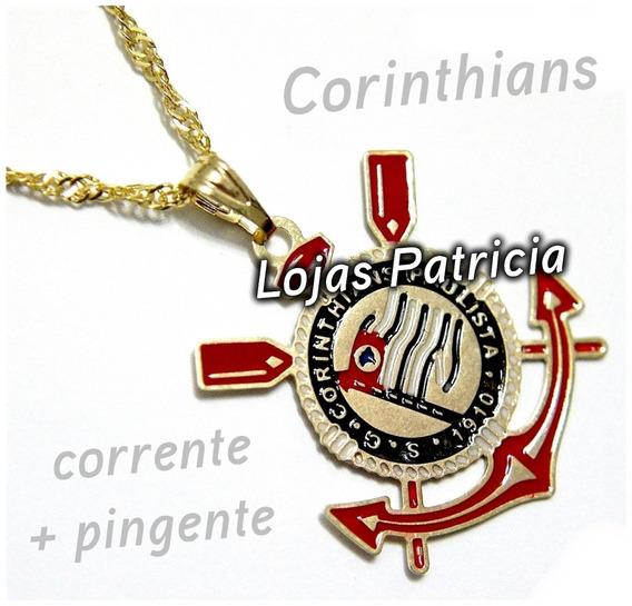Cordão Corinthians Corrente Colar Dourado Pingente Folheado