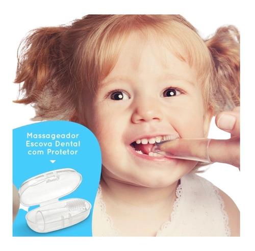 Imagem 1 de 5 de Massageador Escova Dental Bebê Mordedor Antistress C/ Estojo