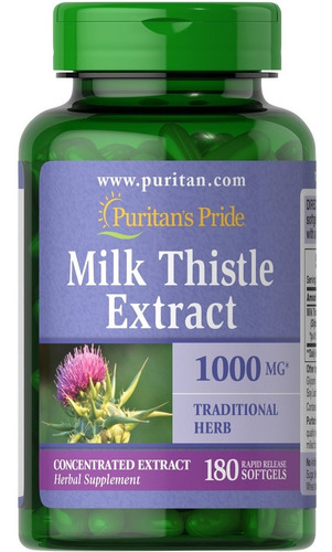 Milk Thistle Silimarina Cardo Mariano 1000mg 180 Cap Puritan