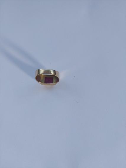 Anel Usado 5,5 De Ouro, Pedra Imitação De Rubi.