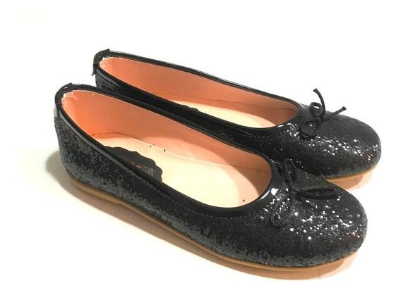 Ballerina Chatita Glitter Negro Para Nenas Y Damas A.glitter