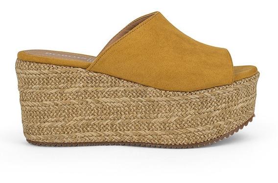 Alpargata Zapato Dama Plataforma Tacon Corrido Amarillo 9118