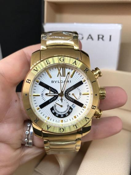 Relógio Masculino Bv Iron Man Dourado Todo Em Aço Quartz