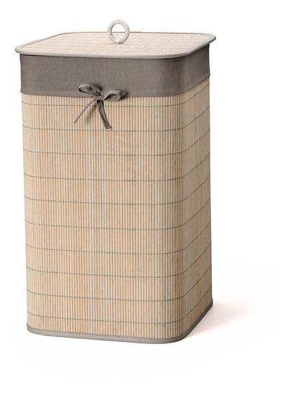 Cesto De Roupa Em Bambu Bencafil 35x35x60cm Cinza